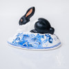 Vaillancourt Black and White Bunny on Delft Egg - large | The Shops at Colonial Williamsburg