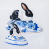 Vaillancourt Black and White Bunny on Delft Egg - small and large | The Shops at Colonial Williamsburg