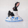 Vaillancourt Black and White Bunny Backward Facing on Delft Egg | The Shops at Colonial Williamsburg