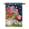 Geraniums and American Flags House Flag
