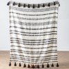 Black & Natural Striped Slub Woven Throw with Tassels | The Shops at Colonial Williamsburg