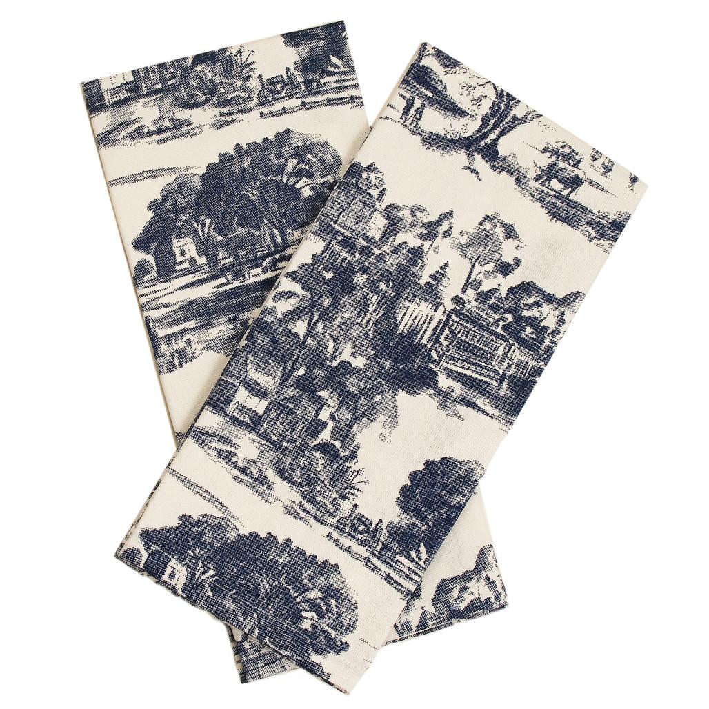 Blue Townscape Toile Towels