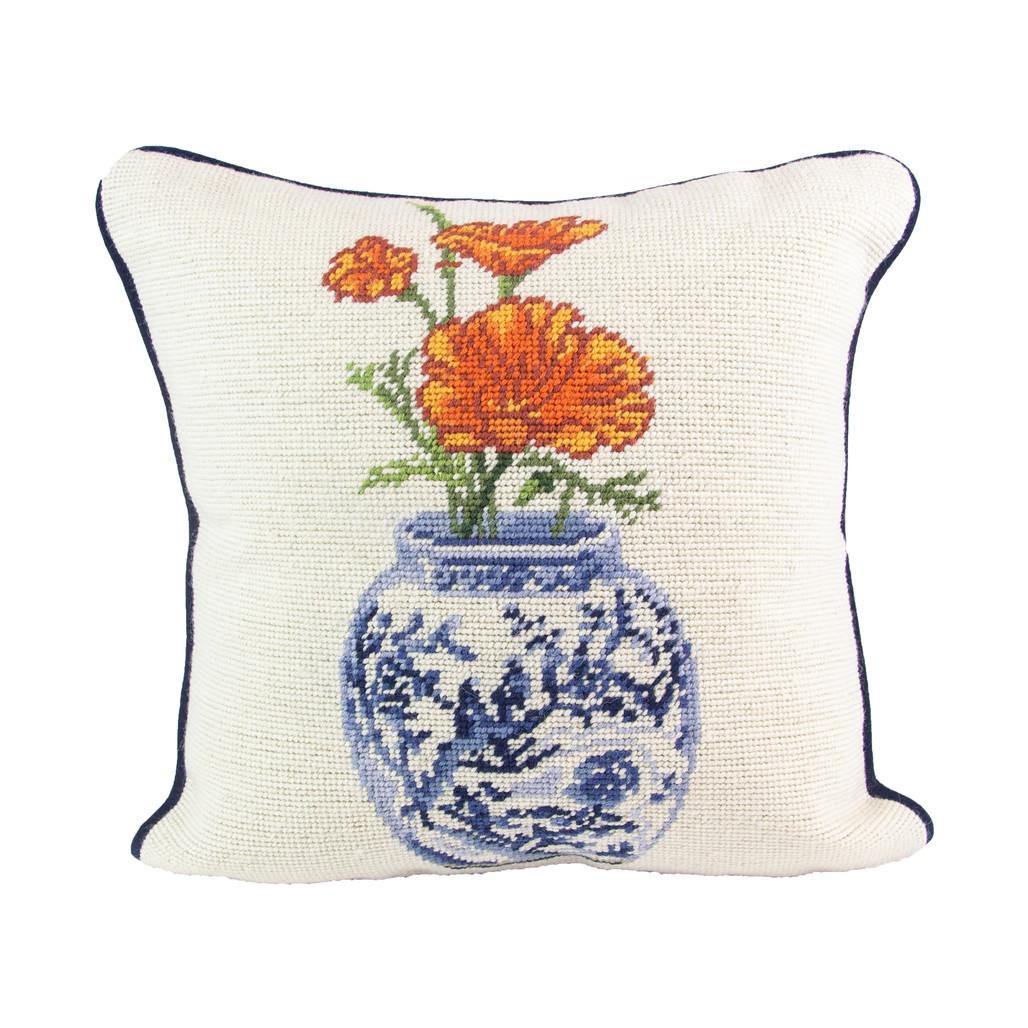 Poppy Delft Vase Pillow