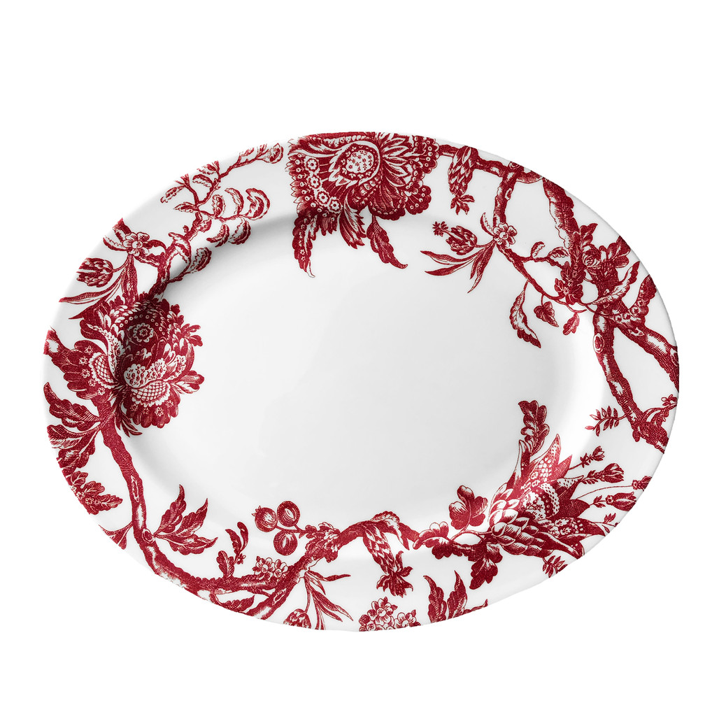 Caskata Arcadia Crimson Rimmed Oval Platter