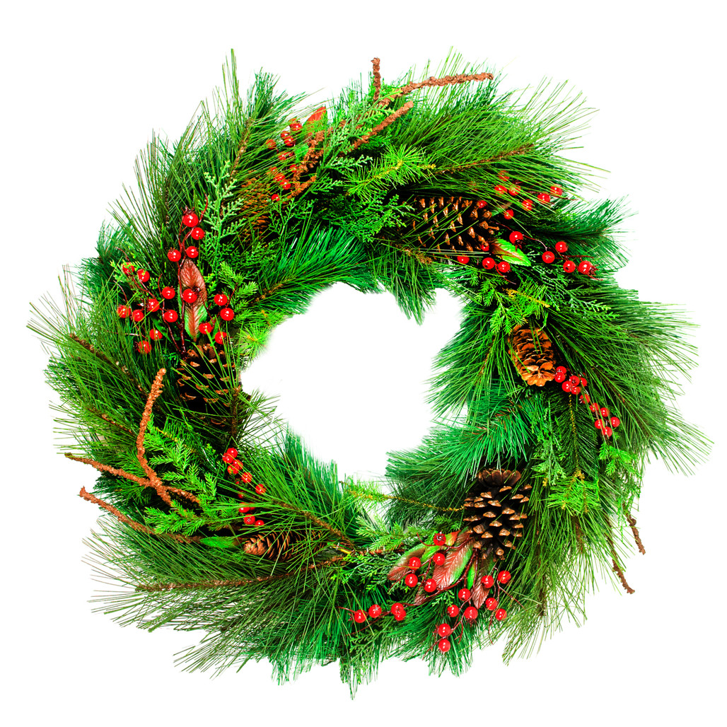 "Cedar Berry Cone Wreath 30"""