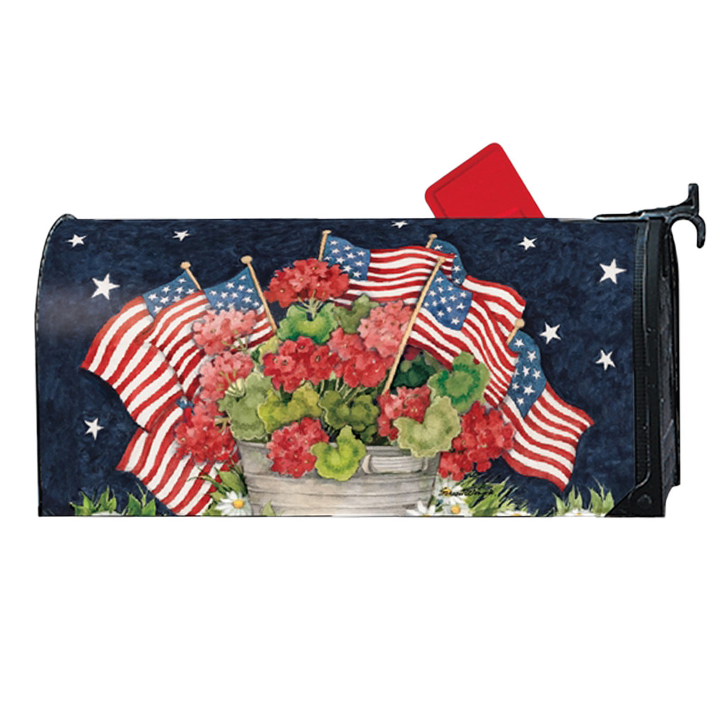 Geraniums and American Flags Mailwrap
