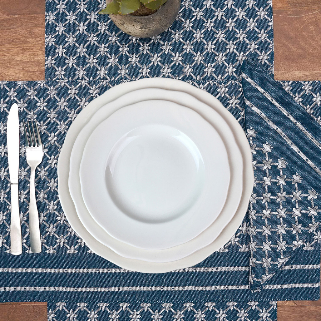Markle Woven Table Linens - Navy   The Shops at Colonial Williamsburg