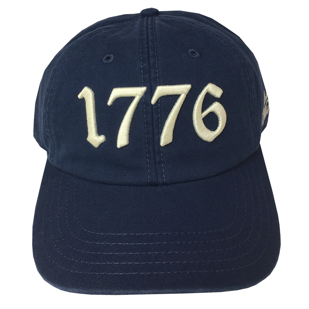 """Colonial Williamsburg """"1776"""" Embroidered Adult Baseball Cap - Navy Blue 
