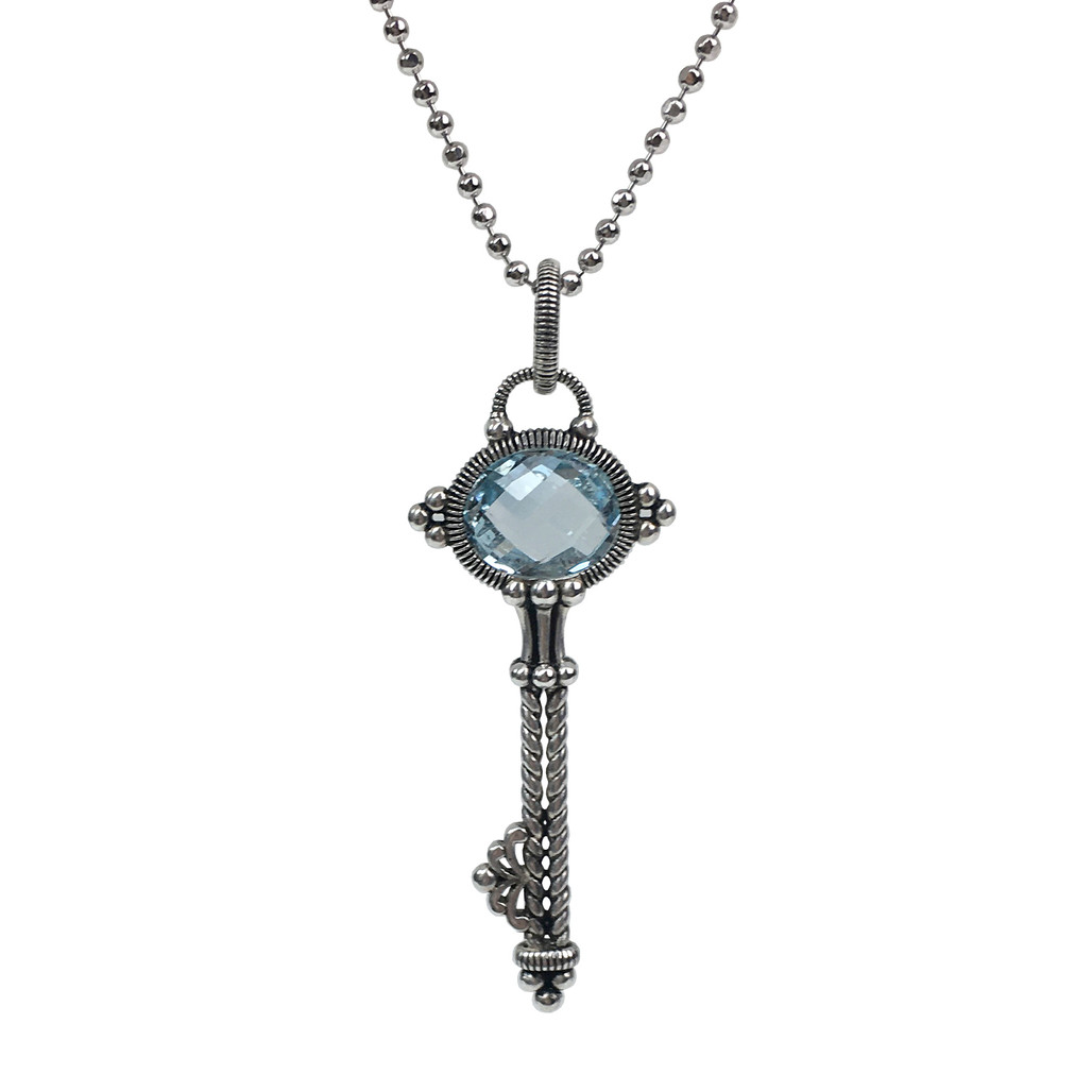Blue Topaz Key Silver Pendant | The Shops at Colonial Williamsburg