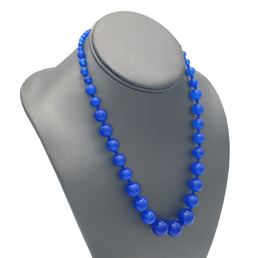 Blue Agate Rosary Necklace   The Shops at Colonial Williamsburg