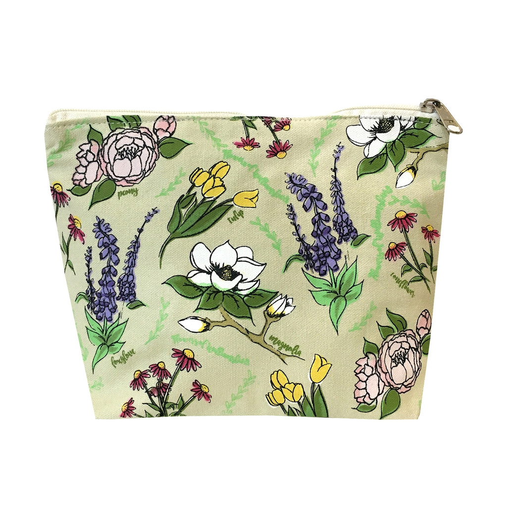 Wildflower Canvas Zippered Pouch   The Shops at Colonial Williamsburg