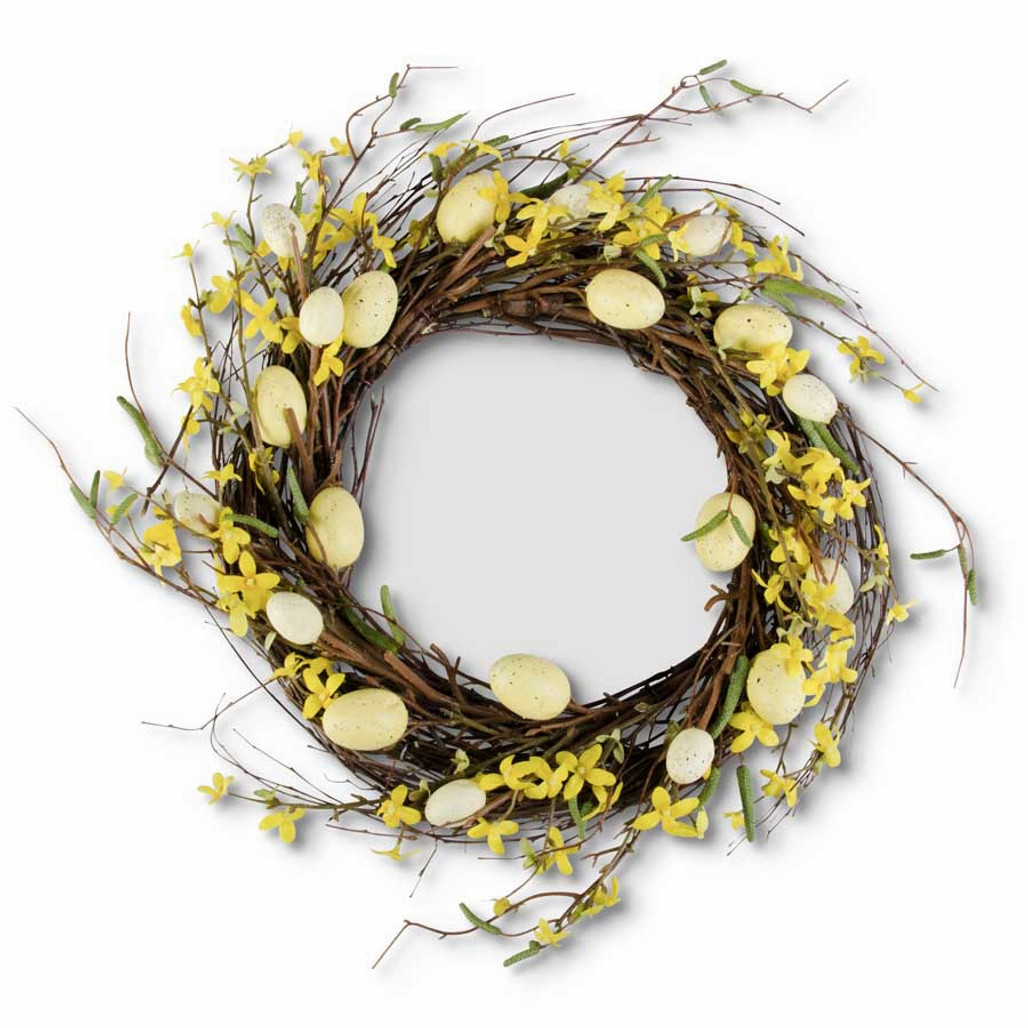 """Yellow Forsythia & Eggs Wreath 20"""" 