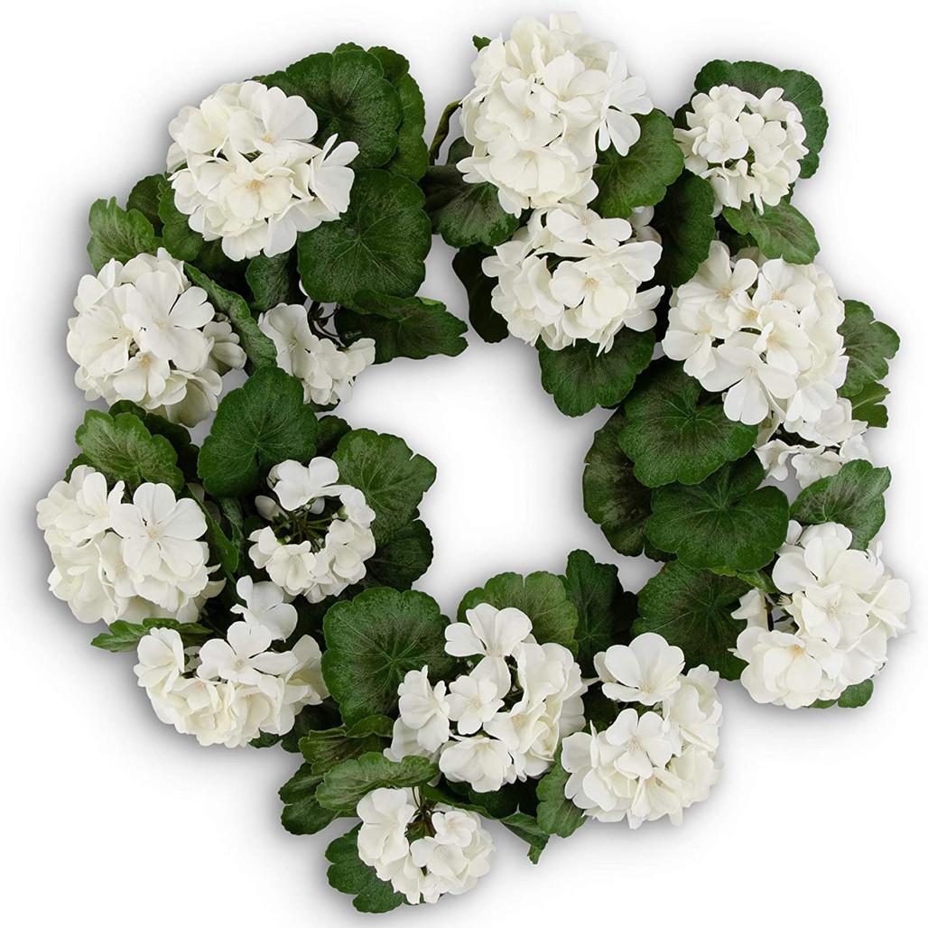 "White Geranium Wreath 24""   The Shops at Colonial Williamsburg"