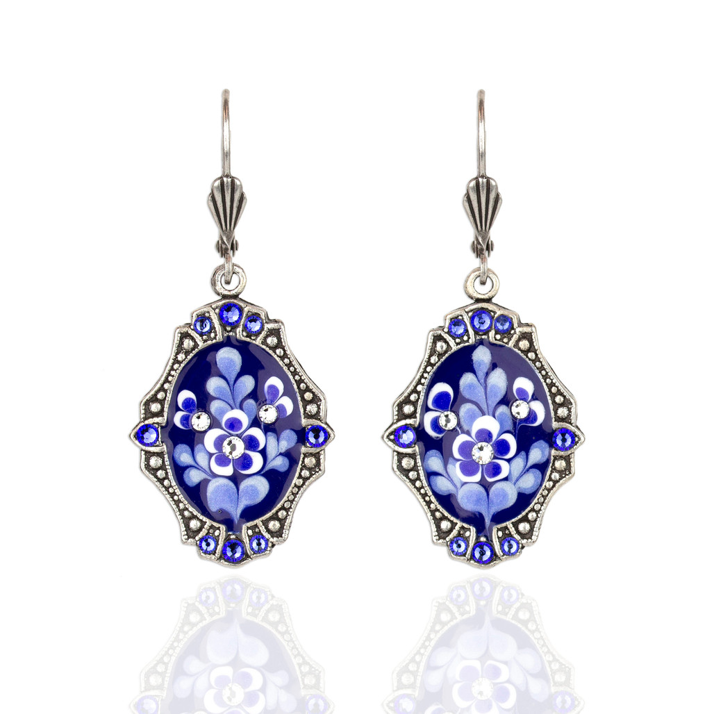 Blue & White Oval Earrings with Crystals   The Shops at Colonial Williamsburg
