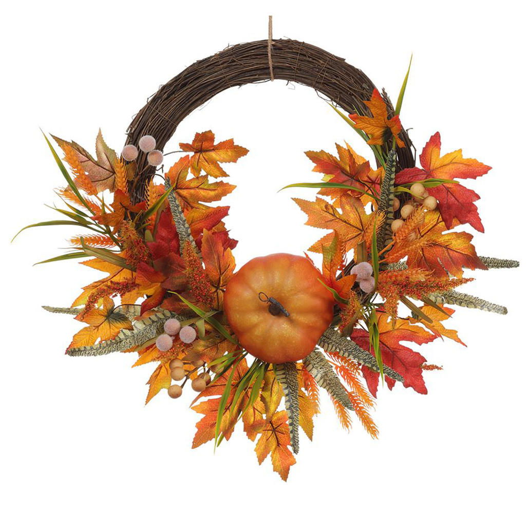 """Twig, Feathers, Pumpkins, and Maple Leaves Fall Wreath 24"""" 