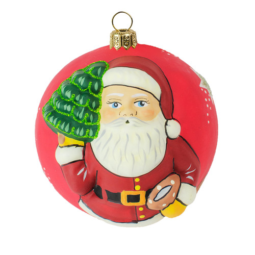 Vaillancourt Classic American Santa with Tree Jingle Ball Ornament