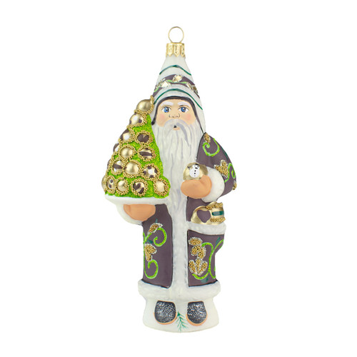Vaillancourt Santa Ornament with Gold Ornaments
