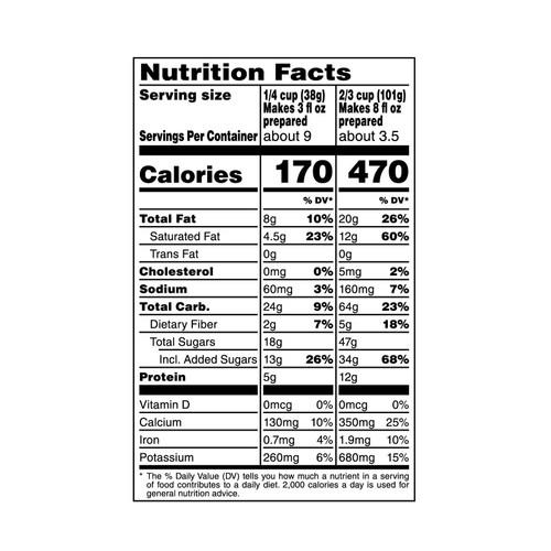 American Heritage Chocolate Milk Chocolate Drink Mix - nutrition info