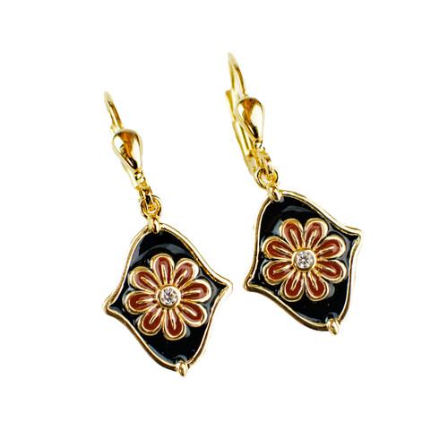 Navy Flower Enamel Drop Earrings
