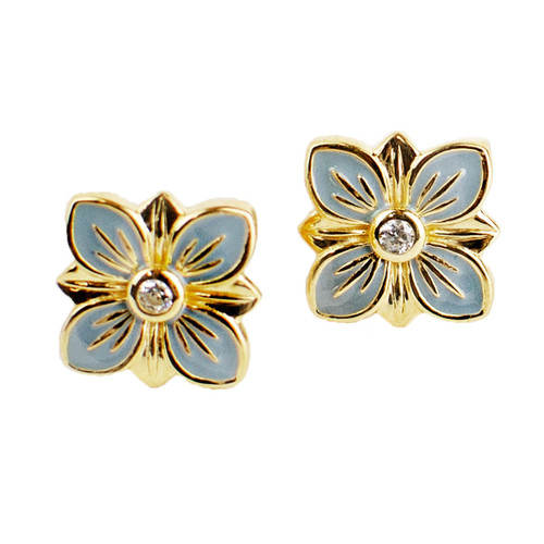 Pink and Aqua Enamel Flower Stud Earrings