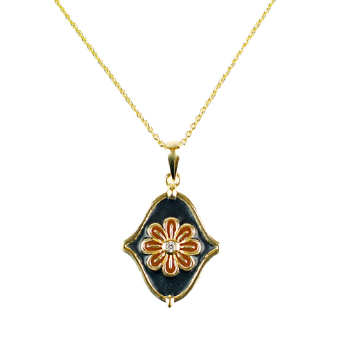 Navy Flower Drop Enamel Pendant