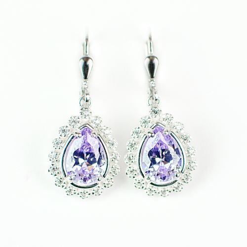Lavender Cubic Zirconia Drop Earrings