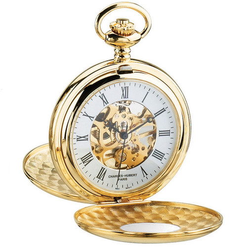 Gold Tone Pocket Watch with Mechanical Wind