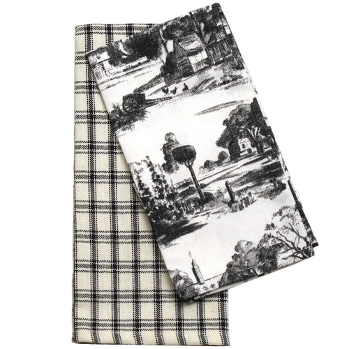 Black Townscape Toile Towels