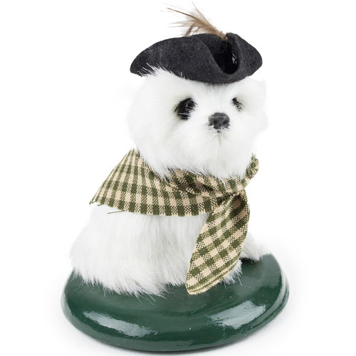 Byers' Choice White Dog with Cocked Hat