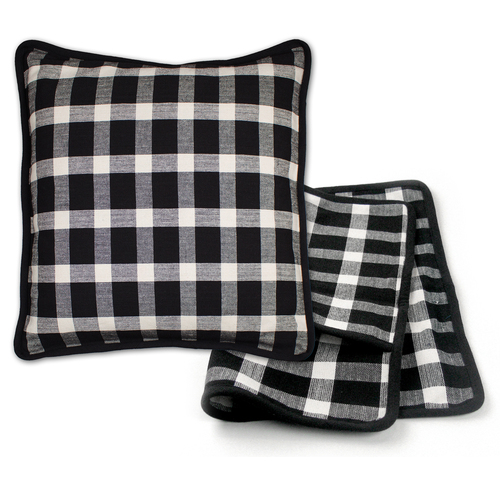Black Tavern Check Pillow Cover