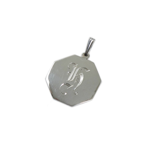 Small Sterling Silver Octagonal Plain Pendant