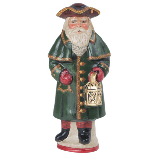 Vaillancourt Colonial Santa with Green Coat and Lantern