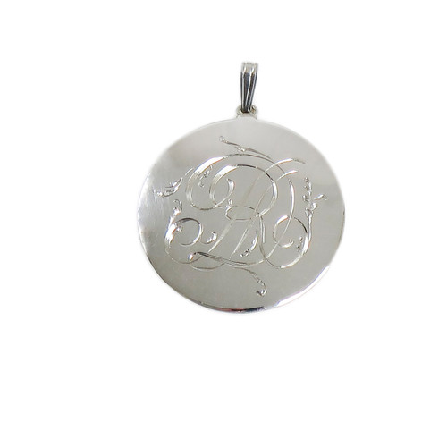 Large Round Sterling Silver Plain Pendant