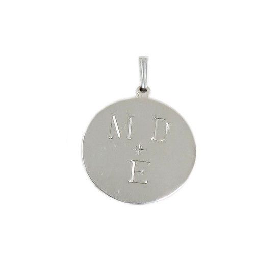 Small Round Sterling Silver Plain Pendant