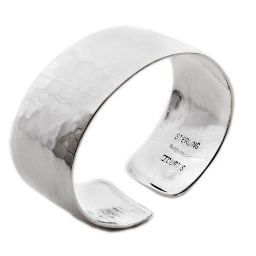 Sterling Silver Wide Hammered Bracelet