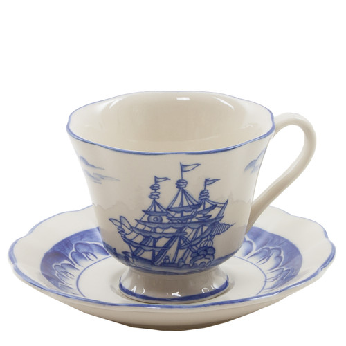 Blue and Cream Export Cup and Saucer