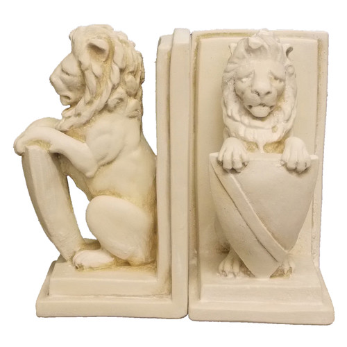 Lion and Shield Bookends