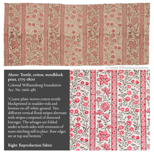 Colonial Williamsburg Reproduction Fabric - Cascading Floral Stripe 100% Cotton Fabric - Inspiration