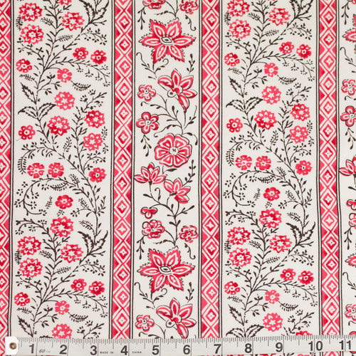 Colonial Williamsburg Reproduction Fabric - Cascading Floral Stripe 100% Cotton Fabric - Product