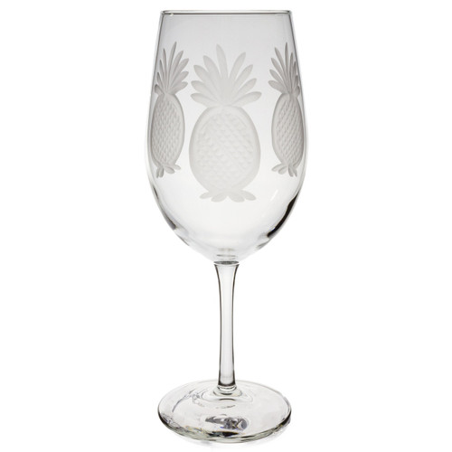 Pineapple Etched Design Wine Glass