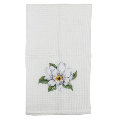 Magnolia Embroidered Waffle Weave Kitchen Towel