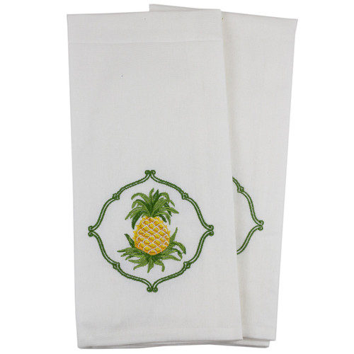 Embroidered Pineapple Kitchen Towels