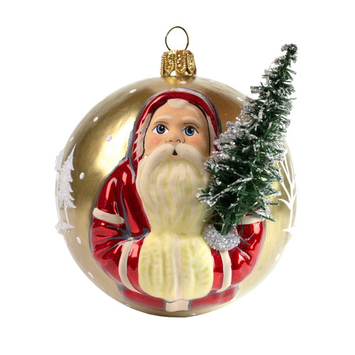 Vaillancourt Jingle Ball Ornament - Santa with Tree on Gold