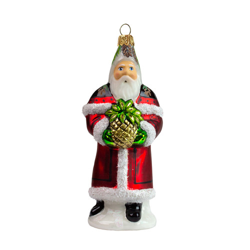 Vaillancourt Santa in Red with Pineapple Glass Ornament