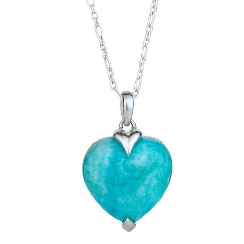 Amazonite Heart Sterling Silver Pendant