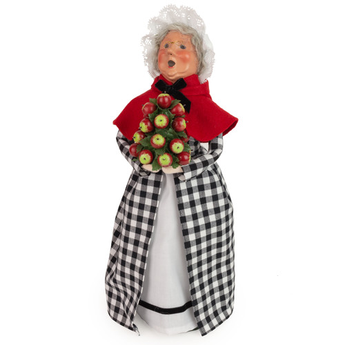 Byers' Choice Colonial Grandmother in Black Check, Red Cape with Applecone