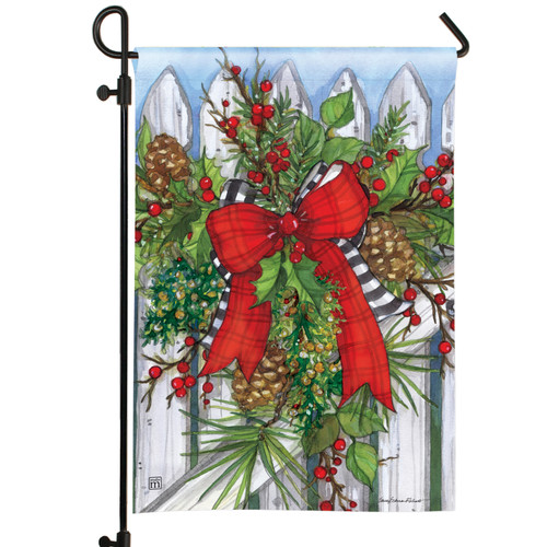 Holiday Garland on Fence Garden Flag