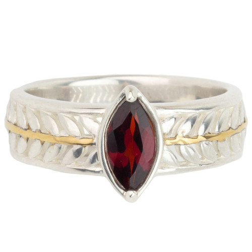 Garnet Fern Leaf Ring