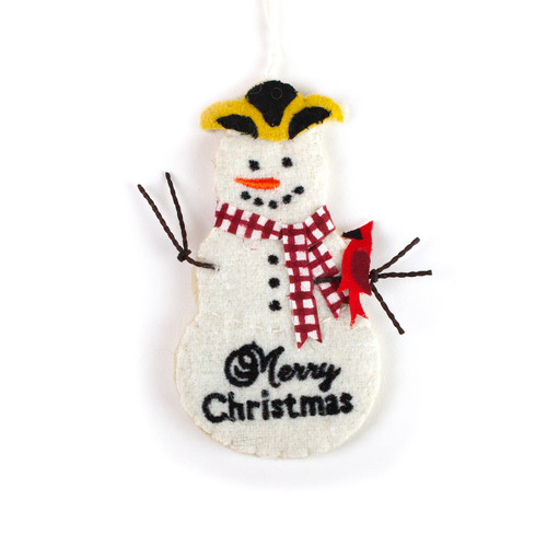 Colonial Snowman and Cardinal Wool Ornament