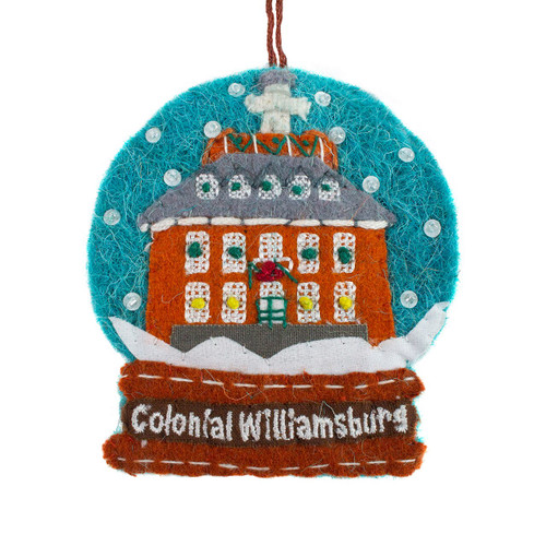 Governor's Palace Snowglobe  Wool Ornament